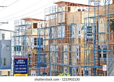 EL SEGUNDO/CALIFORNIA - SEPT. 29, 2018: Site of new home construction in progress. El Segundo, California USA