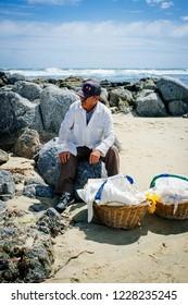 El Tabo, Chile. December 7, 2015. Central Coast. popular beach the central zone of Chile. Popular beach seller