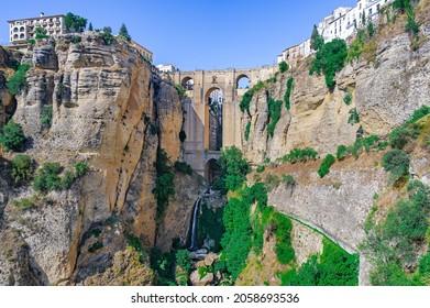 El Tajo and Puente Nuevo in the city of Ronda in Malaga, Andalusia, Spain.
