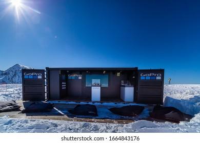 El Tarter, Andorra, Jan 2018 GoPro advertising their new product, Karma drone displayed in barrack on the top of mountain peak in Pyrenees