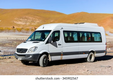 EL TATIO, CHILE - NOVEMBER 16, 2015: Modern minivan Mercedes-Benz Sprinter at the countryside.