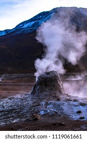 El Tatio during sunrise, a geyser field located within the Andes Mountains of northern Chile at 4,320 meters above mean sea level