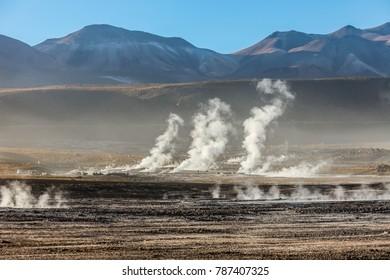 El tatio geyser in Atacama desert Chile