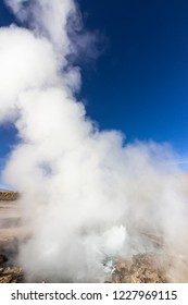 El Tatio Geysers at Atacama desert, amazing thermal waters at 4500 masl inside the Andes a place with an awe geothermal activity below the ground. Volcanic activity at Atacama , Chile