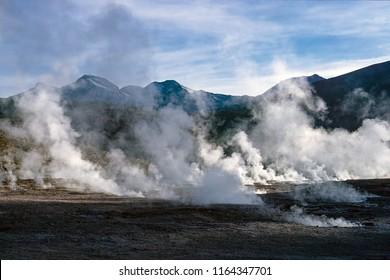 El Tatio geysers, near San Pedro de Atacama - Chile. El Tatio is a geyser field located in the Andes Mountains of northern Chile