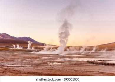 El Tatio geysers , near San Pedro de Atacama, Chile.