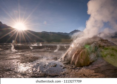 El Tatio Geysir in the Atacama Desert in Chile during Sunrise with boiling water flying through the air and steam evaporating