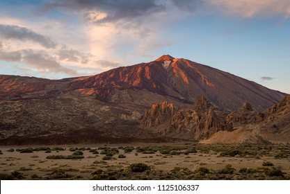 El Teide volcano at sunset red light. Nature touristic attraction of Tenerife island, Spain.