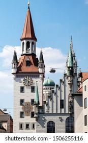Elaborate architecture of the facade of a medieval castle.  Munich, Germany