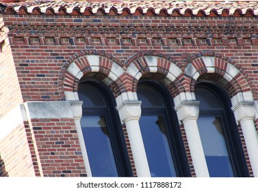 Elaborate colorful brick design on commercial building