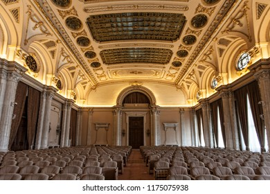 Elaborate decorations in Alexandru Ioan Cuza Hall in Palace of the Romanian Parliament, Bucharest, Romania, 2018