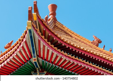 Elaborate design On The Eave Of A Chinese Temple in Thailand