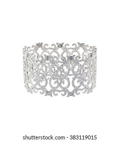 Elaborate filigree diamond bracelet isolated on white