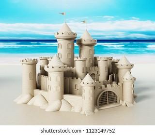 Elaborate Sandcastle standing the seashore. 3D illustration.