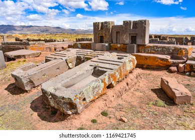 Elaborate stone carving in megalithic stone at Puma Punku, part of the Tiwanaku archaeological complex, a UNESCO world heritage site near La Paz, Bolivia.