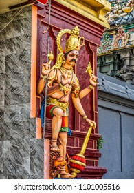 Elaborately carved decorated buildings and figures in a Hindu Temple Complex, Colombo, Sri Lanka.