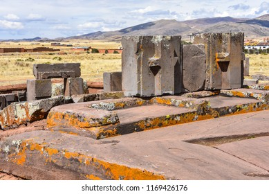 Elaborately carved megalithic stones at Puma Punku, part of the Tiwanaku archaeological complex, a UNESCO world heritage site near La Paz, Bolivia.