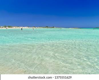 Elafonisi beach in Crete island, Greece. Beautiful turquise water, paradise exotic.