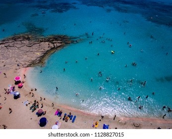 The Elafonisi beach as seen from a drone.