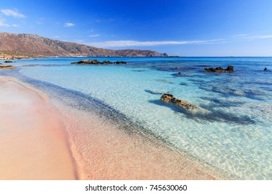 Elafonisi, the best beach in Crete, pink sand, clear water, blue sky, the Libyan Sea.