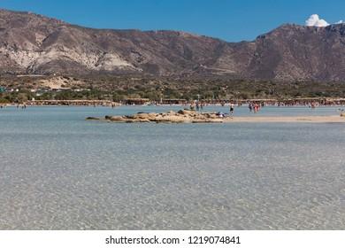 ELAFONISI, CRETE, GREECE - OCTOBER 9, 2018: Elafonisi beach on the southwest coast of Crete, Greece
