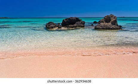 Elafonisi (Island of Deer) is like paradise on earth, and possessess a wonderful beach with pink coral sand and crystalline waters, island of Crete, Greece