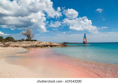 Elafonisi island is like paradise on earth with wonderful beach with pink coral sand and crystalline turquoise  waters, island of Crete, Greece