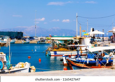 ELAFONISOS, LAKONIA - JULY 2018: Fishboats in the small port of Elafonisos island Elafonisos, Lakonia, Greece. Elafonisos is well known for its light exotic and coloured, sandy beaches.