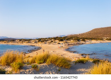 ELAFONISOS, LAKONIA - JULY 2018: Simos beach in Elafonisos island in Greece. Elafonisos is a small Greek island between the Peloponnese and Kythira with idyllic exotic beaches and waters