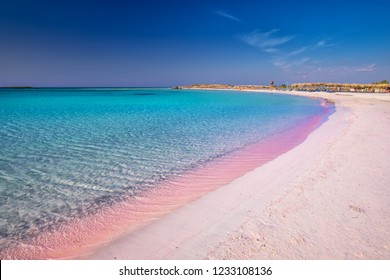 Elafonissi beach on Crete island with azure clear water, Greece, Europe. Crete is the largest and most populous of the Greek islands.
