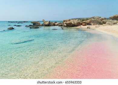 Elafonissi Beach with its pink and red sand and transparent water, Crete Island, Greece