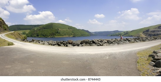 The elan valley cambrian mountains area of outstanding natural beauty powys wales the valley has dams and reservoirs which are used to provide the city of birmingham with a stable water supply.