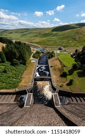 Elan valley reservoirs in a dry and very hot summer time in the welsh countryside