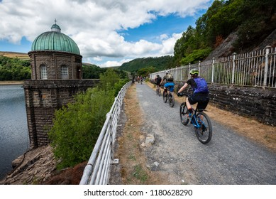 Elan Valley, Rhayader, Wales, UK : August 04, 2018: Cyclists visting the beautiful reservoirs in the Elan Valley