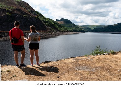Elan Valley, Rhayader, Wales, UK : August 04, 2018: Young couple visting the beautiful reservoirs in the Elan Valley