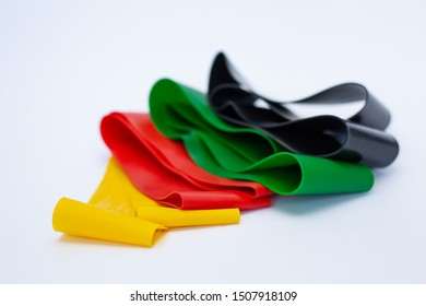 Elastic bands for stretching on white background