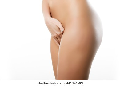 elastic sports female butt on a white background.