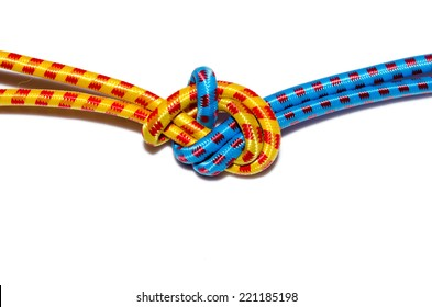 Elastic straps rope Tied a knot isolated on the white.