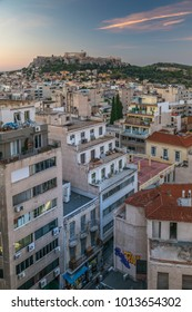 Elavated view of  The Acropolis at dawn from the Monastiraki District, Athens, Greece, Europe 10 October 2017