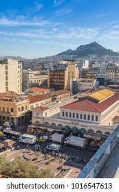 Elavated view of Central Market towards Lykavittos Hill, Monastiraki District, Athens, Greece, Europe 12 October 2017