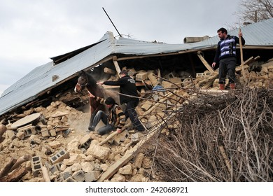 ELAZIG, TURKEY - MARCH 09:  Houses ruined during the earthquake of Elazig. The house was demolished rescued horse on March 09, 2010 in Elazig, Turkey.