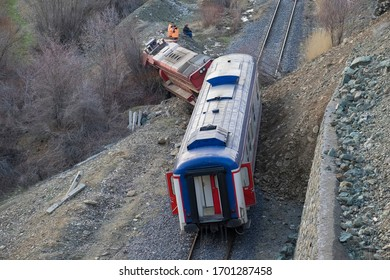 ELAZIG- TURKEY- MARCH 21, 2020: Train derailed due to the landslide that occurred in Elazig. Such accidents happen in many countries of the world.