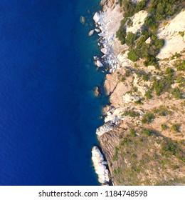 Elba from above 1 - The shore near Pomonte, Elba island, seen by drone