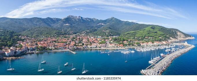 Elba Island, panoramic view of Marciana Marina. Aerial view