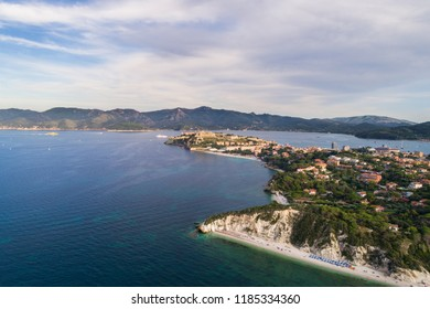 Elba Island, panoramic view of Portoferraio and beach of Capobianco