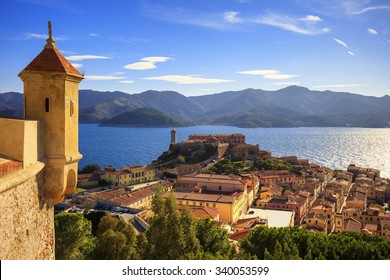 Elba island, Portoferraio aerial view. Lighthouse and medieval fort. Tuscany, Italy, Europe.