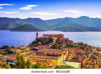 Elba island, Portoferraio aerial view. Lighthouse and fort. Tuscany, Italy, Europe.