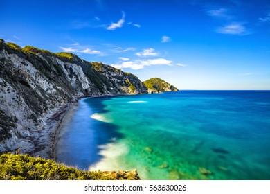 Elba island, Portoferraio Sansone white beach coast. Tuscany, Italy, Europe. Long Exposure.