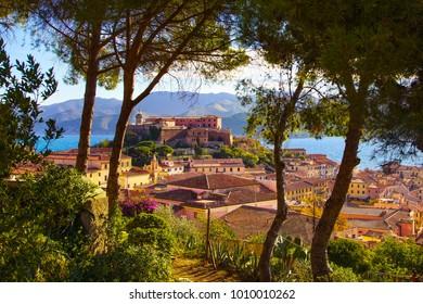 Elba island, Portoferraio view. Pine trees, lighthouse and fort. Tuscany, Italy, Europe.