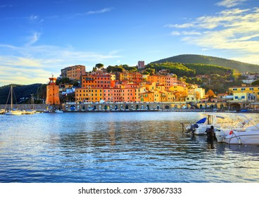 Elba island, Rio Marina village bay. Bay beach and lighthouse. Tuscany, Italy, Europe.